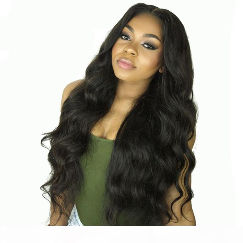 360 corpo do cabelo humano onda Perucas Pré cabelo gratuito Parte da Malásia Virgin arrancada longa onda do corpo peruca dianteira do laço preto Mulheres
