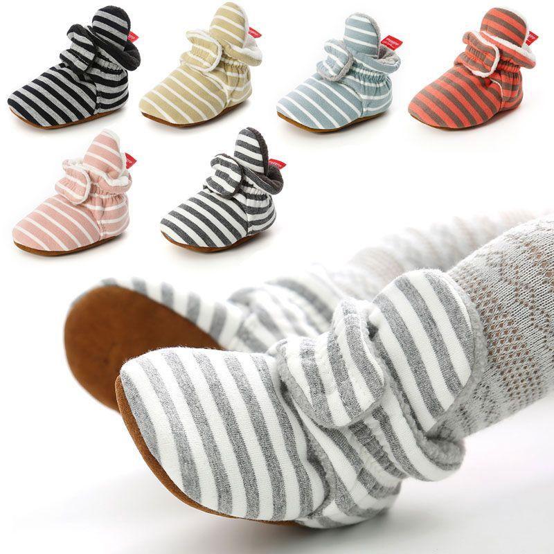Mère Enfants Chaussettes bébé Chaussures Garçon Fille Stripe vichy nouveau-né tout-petits d'abord Walkers bottillons coton Soft Comfort antidérapants Chaussures Crib infantile