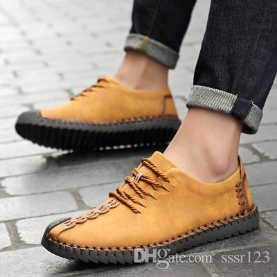 Düşük fiyat satmak 2020 En kaliteli erkekler yeni İngiliz tarzı moda spor ayakkabılar Rahat ayakkabılar deri spor klasik daireler 2020 Boyut 38-46