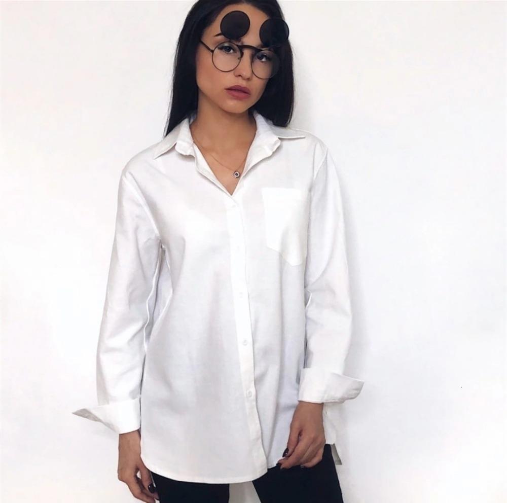 Женщины Топы Женщины Блуза Chic Твердотопливные Рубашки с длинным рукавом Хлопок Блуза Плюс Размер Рубашки Негабаритные белой блузке Maxi Boyfriends Chemisier