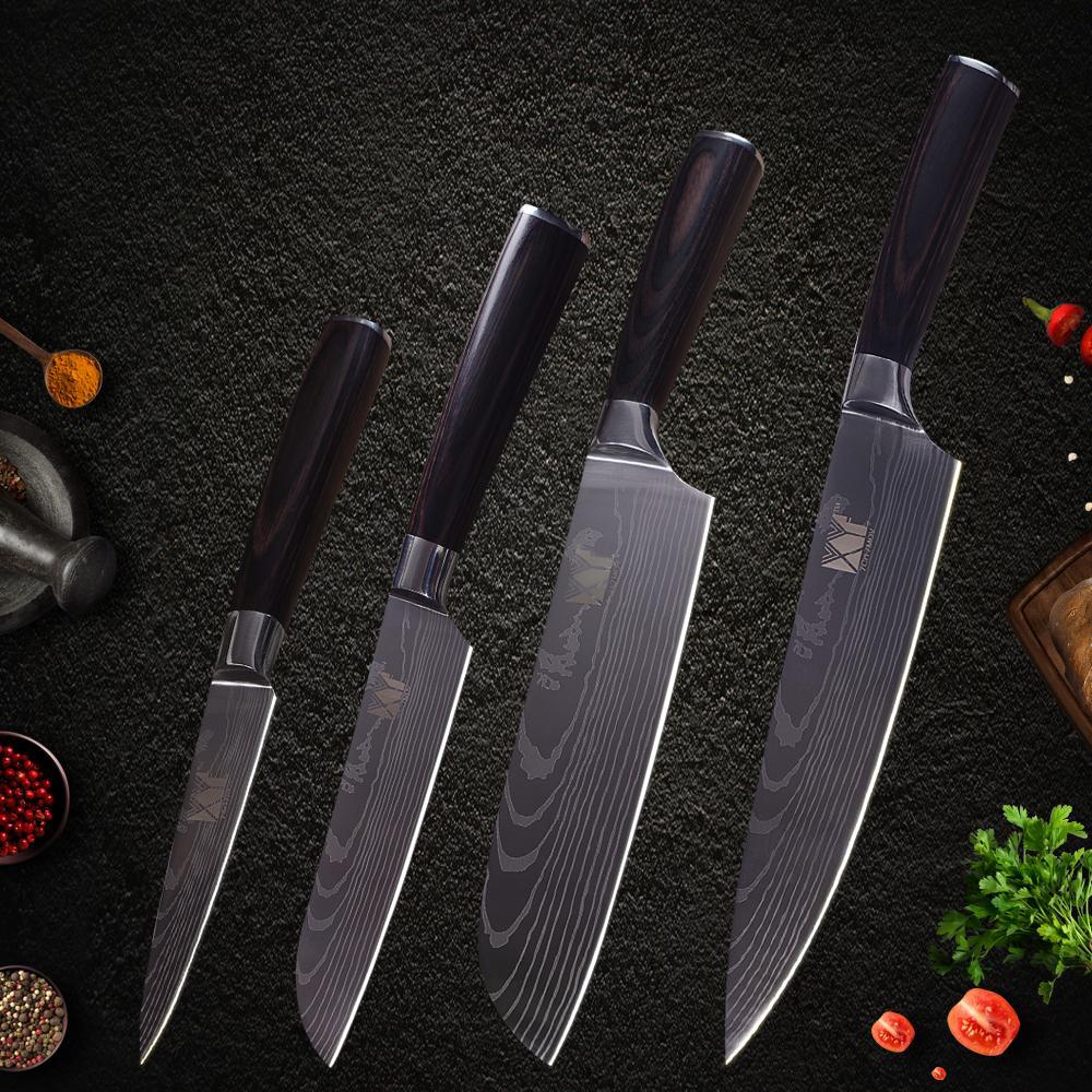 XYj Cuchillo de cocina de acero inoxidable 4 piezas Set High Carbon Sharp Damasco Patrón Color de la hoja Mango antideslizante Cuchillos de cocina