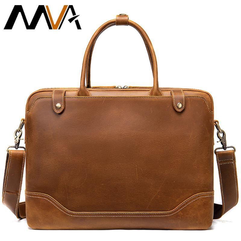 MVA cuir Business Bag Breaks Porte-casque 14 Cheval Ordinateur portable Hommes Sacs Sacs à main 7375 Véritable sac de pouce pour hommes Crazy Hommes Messenger pour GXOXW