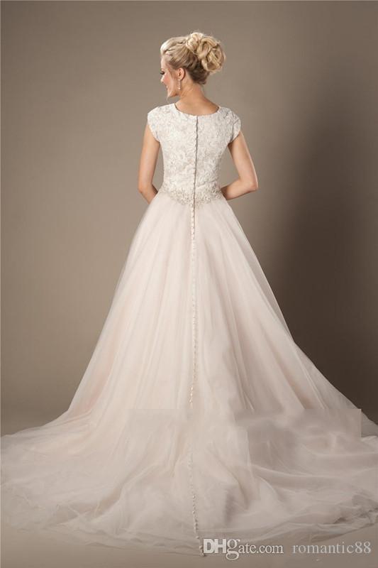 Шампанское кружевное тюль скромные свадебные платья с крышными рукавами с бисером пояса кнопки назад Couture Made Свадебные платья