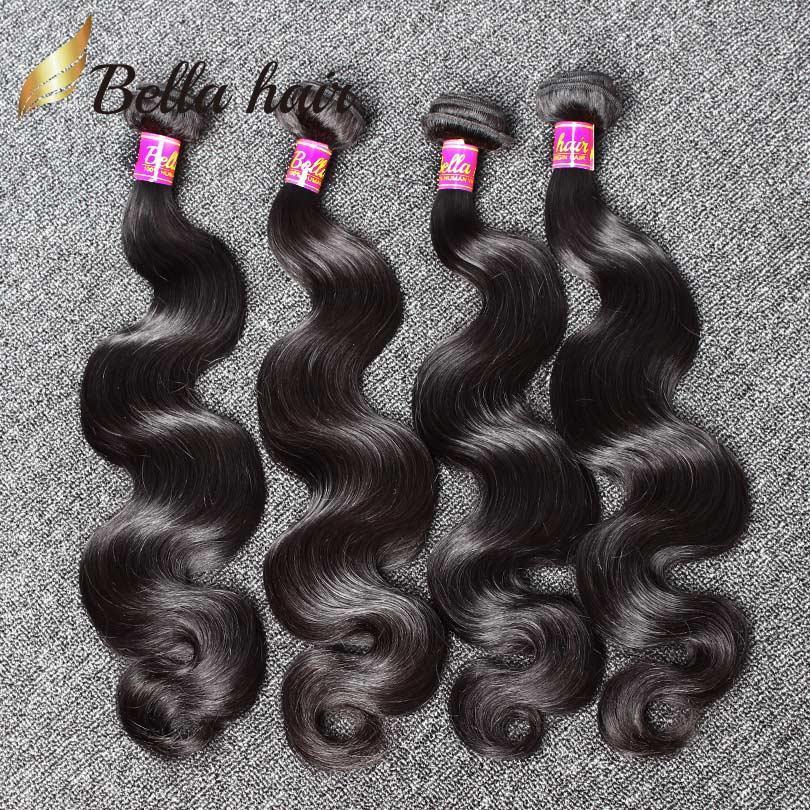 İnsan saç örgüleri Brezilyalı saç demetleri uzantıları vücut dalga saç örgüleri atkı ucuz Malezya Perulu Hint çift atkı 4 adet 9A Bellahair