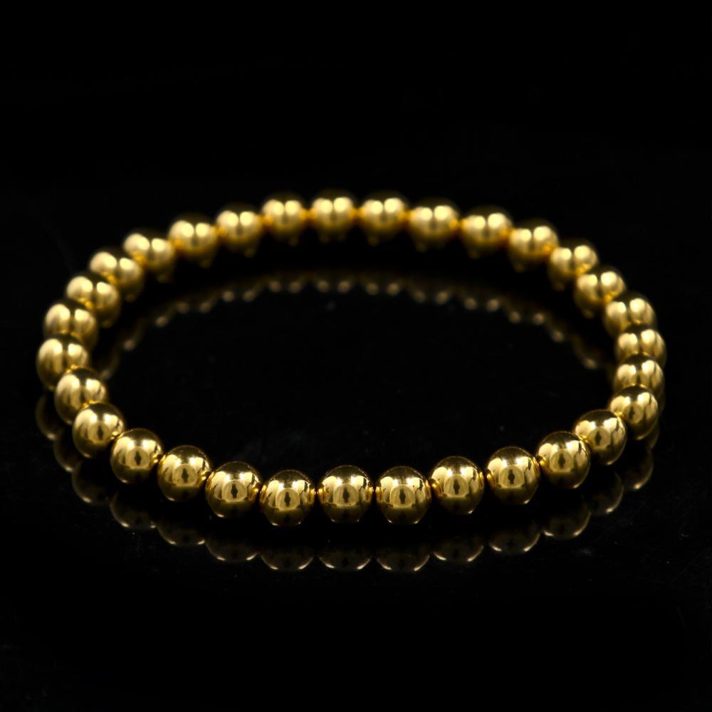 18K تصفيح الذهب والمجوهرات مطاطا الكرة مطرز سوار الفولاذ المقاوم للصدأ فضة روز الذهب الخرزة سوار