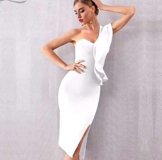 af2291cc4ba 2019 New Summer Women Dress Sexy One Shoulder Ruffles Bodycon Club Dresses  Vestidos Evening Party Dress