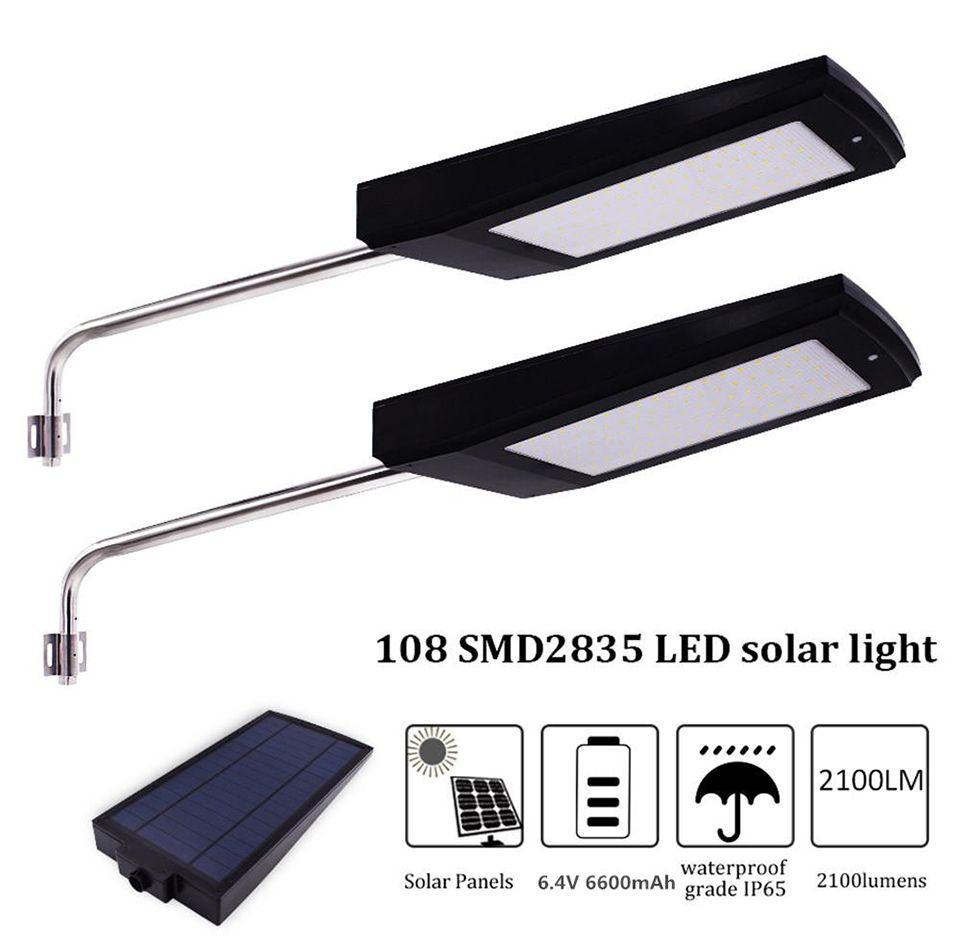 Güneş Sokak Işık Açık LED Solar Lamba 15W 108 Ledler Su geçirmez Güvenlik Radar Hareket Sensörü 2100lm Bahçe Aydınlatma Süper Parlak