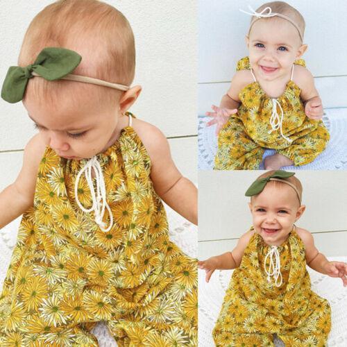 Nouveau tout-petits enfants de bébé d'été Bracelet Romper Boho Jumpsuit lacent Harem pantalons longs vêtements pour bébés