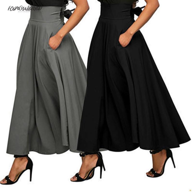 Gonna estiva alla moda con tasca Gonna lunga alla caviglia vintage di alta qualità per donna Gonna lunga nera