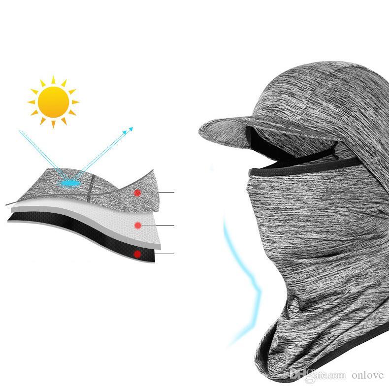 Summer Sun Mask-Eis-Silk mit Kapuze im Freien Reiten Motorrad Fische Männer und Frauen Vollmasken mit Krempe XD23287