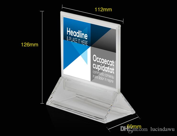 10pcs A7 Frame Acrylic Price Tag Display Desk Sign Holder Stand Merchandise Info Paper Picture Photo Frame Office Name Card Display