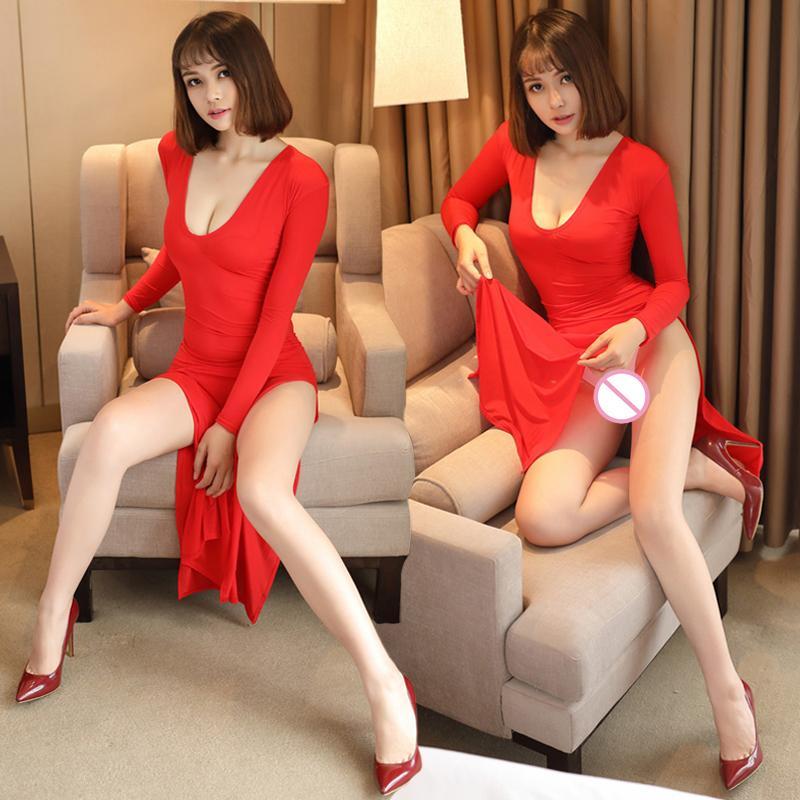 Sexy Frauen Milch-Eis-Silk Glatte Elastic Diskothek High Cut-Kleid Transparent mit langen Ärmeln Kleid durchschaut Club Wear FX32 T200707