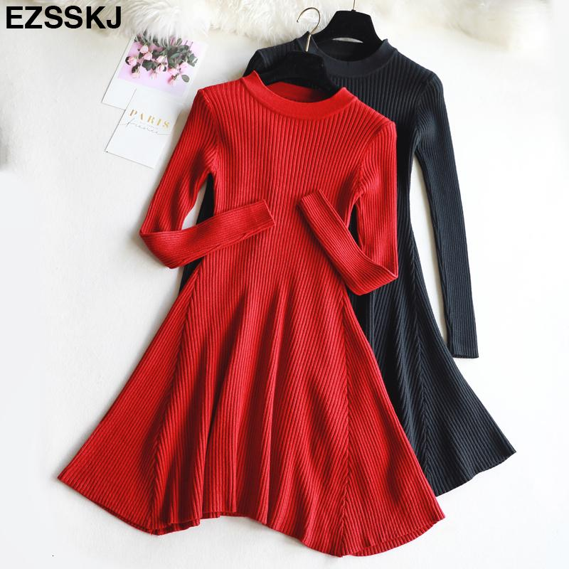 chic Autumn Winter black Sweater Dress Women o-neck Long Sleeve A Line thick Knit mini Dress female girl short bodycon dressMX190927