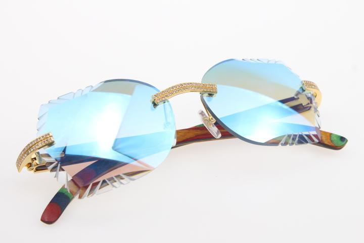 Decor Wood Frame Glasses 3524012 Design Hot Rimless Peacock 2021 Mezzo occhiali da sole all'aperto Vendita di guida BGUKO