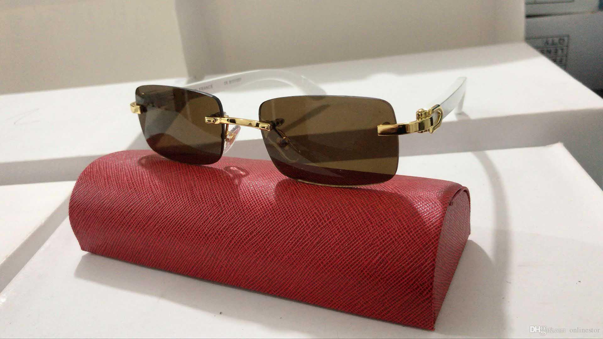 Yeni Moda Erkekler Spor Güneş Çerçeve Gözlük Rimless Altın Metal Buffalo Horn Gözlük Temizle Lensler Ahşap Bacak occhiali lentes Lunette
