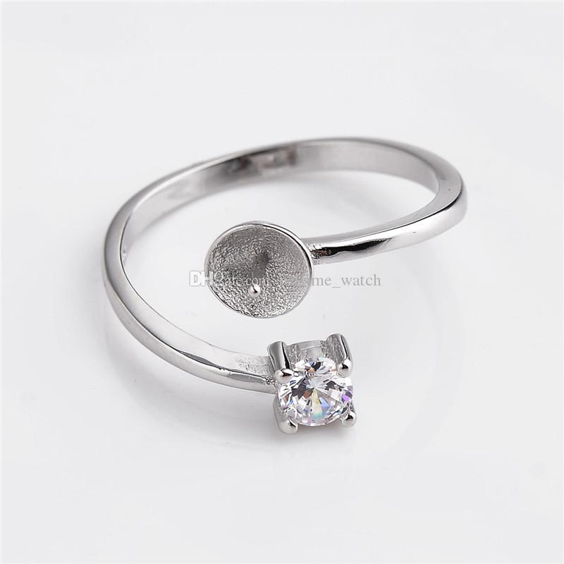 HOPEARL кольцо ювелирных изделий Выводы Один Циркон 925 Sterling Silver зубец Настройки DIY Жемчуг украшения 3 шт