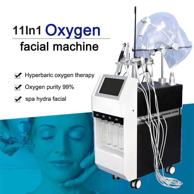 11 В 1 Oxygen Jet машина для лица Oxygen Спрей чистый кислород Jet Peel глубокой очистки машины