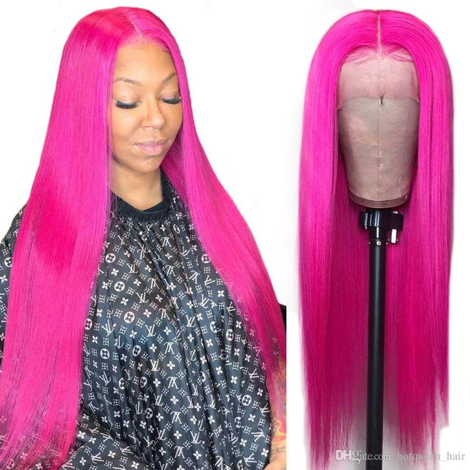 Perucas Hot Rainha personalizado dianteira do laço do cabelo humano 13 * 4 Vermelho Rosa Cabelo Humano Lace Wig frontal Brasileiro Direto peruca de cabelo Para Negras Remy