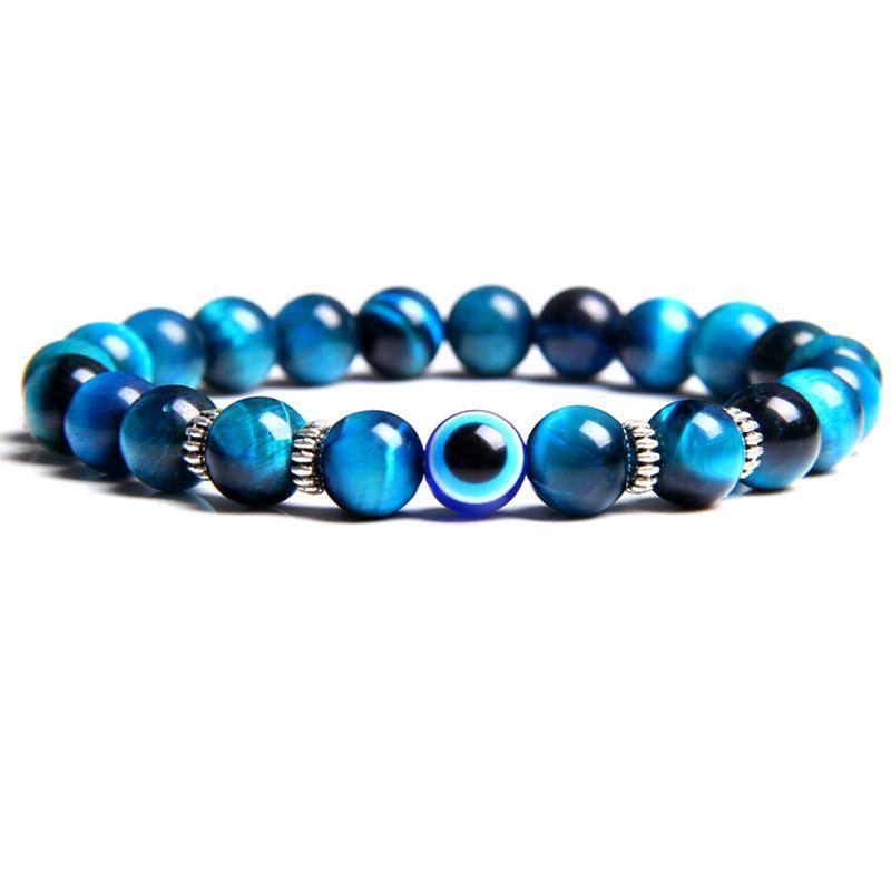 Amizade pulseiras Sorte Jóias Natural Polido Blue Tiger Eye Stone Beads Bangle bonito Evils Rodada de olho Charme Mulheres Pulseira