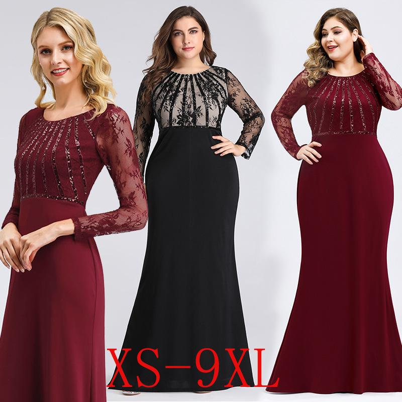 European and American cross-border evening dress round collar long-sleeved lace fishtail skirt wine dinner dress
