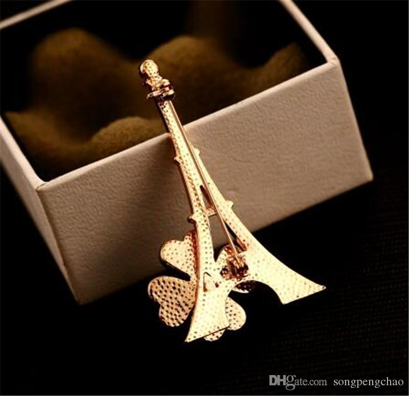 New Trendy Design Paris Tower Flower Brooch Fashion Women Exquisite 18k Gold Plated Brooch Casual Party Gift Brooch Jewelry