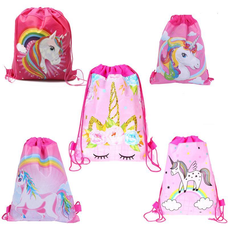 Regalo di compleanno del fumetto Unicorn Drawstring Sacchetto non tessuto Sling Borse bambini Zaini Unicorn sacchetto di scuola delle ragazze dei ragazzi del sacchetto del partito di 34 * 27 centimetri