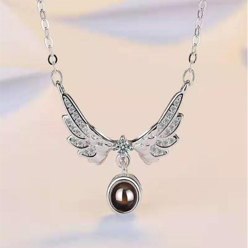 100 Idiomas te amo collar de proyección 2 colores de las alas en forma de collar colgante de cadena de joyería de San Valentín Collares niñas ZJJ137