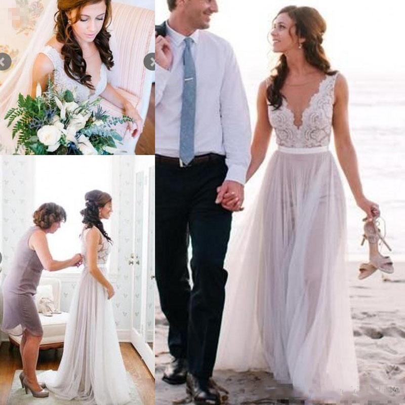 Jewel Sheer шеи Пляж Свадебные платья без рукавов A-Line Тюль Свадебные платья на заказ платье венчания шнурка