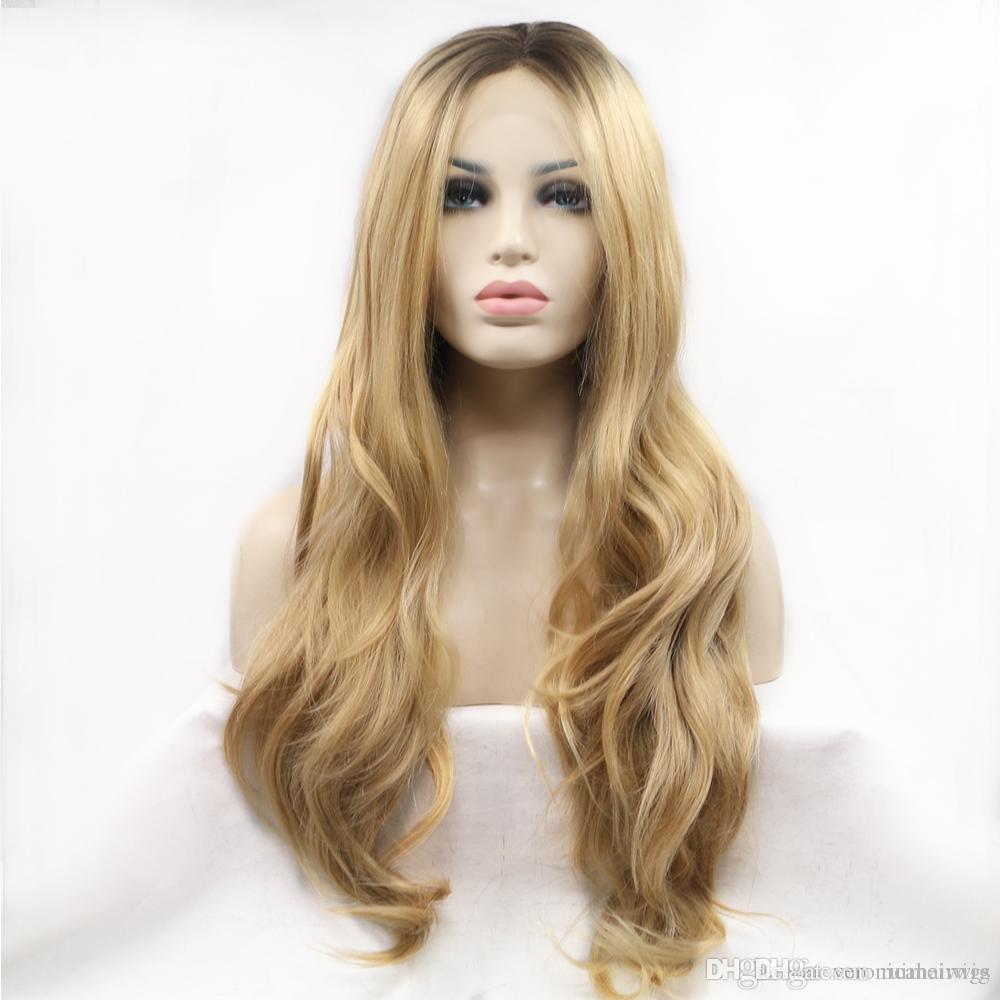 Envío gratis Ombre largo ondulado peluca 2 tonos rubio pelucas delanteras del cordón sintético para las mujeres negras a prueba de calor parte media pelucas llenas
