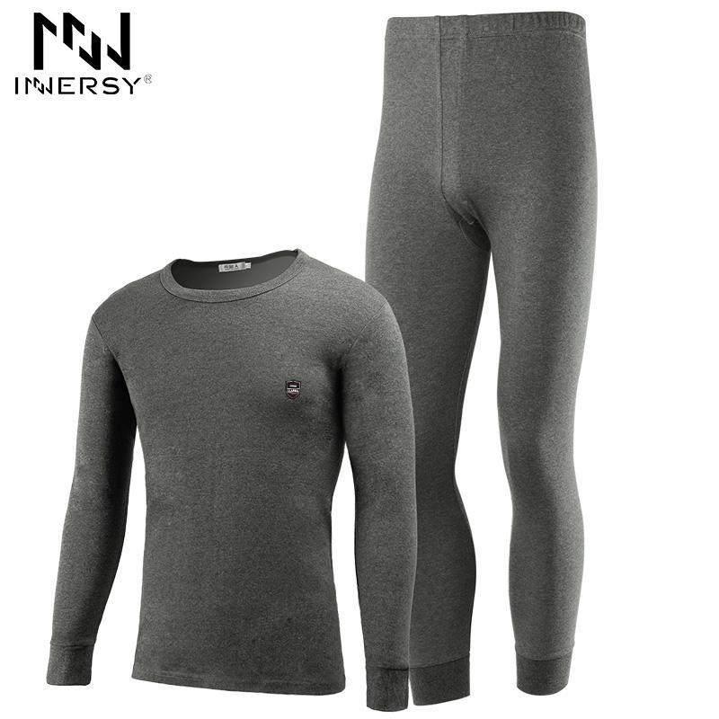 Men's Sleepwear Innersy 2021 Underwear Autumn Mens Thermal Long John Slim Sets Thick Johns Thin Soft Homewear