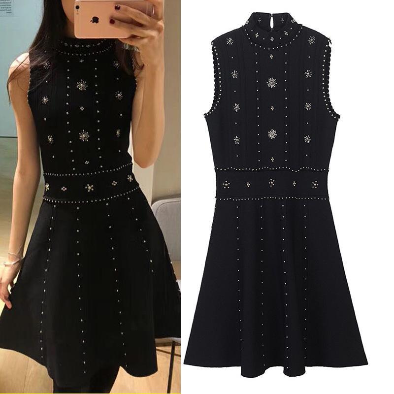 New ss sexy open back Beaded knitted skirt black waist show thin dress