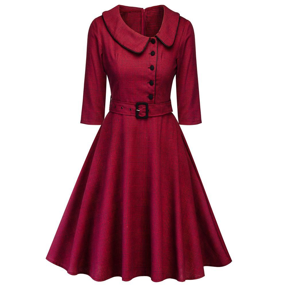 Kenancy Mujeres Elegante Vino de Primavera Vestido de Fiesta Rojo Vestidos Femeninos Audrey 1960s Swing Rockabilly RobeButton Belts Vestido Formal