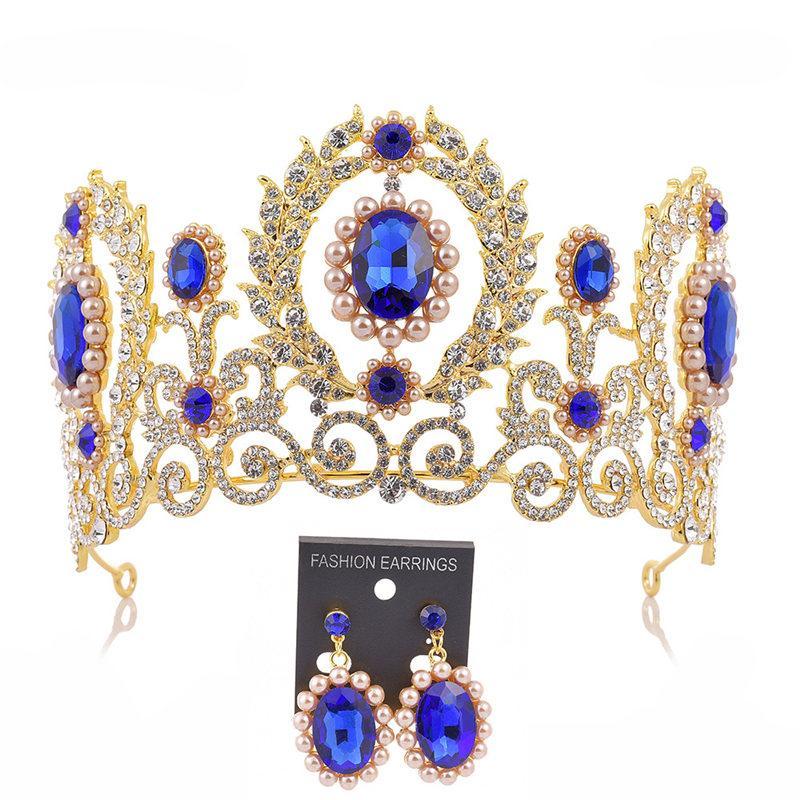 Тиара Корона устанавливает серьги конкурс Принцесса диадема диадемы и короны барокко старинные Гранд Корона невесты свадебные аксессуары