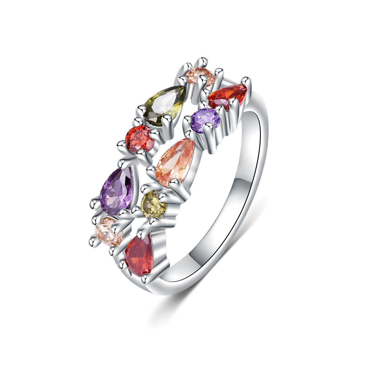 De nouveaux modèles de vente chaud anneaux de design de mode européens et américains, bague en diamant, bague colorée dames de la mode