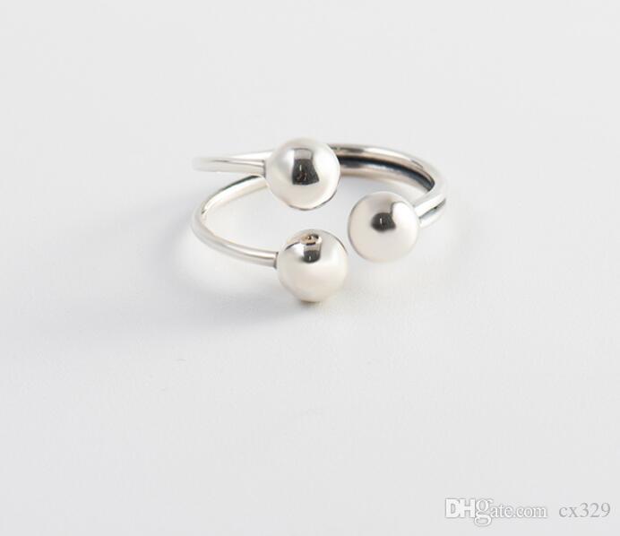 S925 Sterling Silber Ring weibliche geometrische unregelmäßige Planeten-Kugelring drei silberne Perle glänzende Armbänder