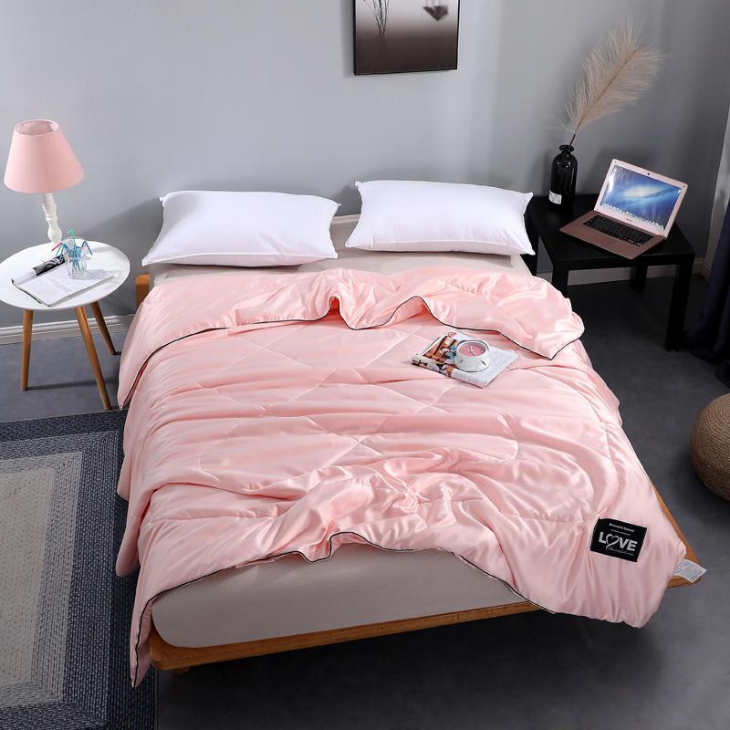 순수 새틴 실크 담요 여름 격자 무늬 에어컨 침대 덮개 씬은 북유럽 200x230 커플 침대 이불 커버를 침대 예외