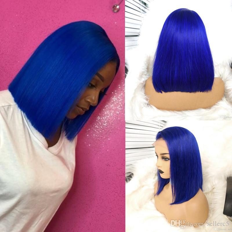 150% Densité bleu perruque de cheveux de cheveux humains avec des cheveux de bébé brésilien avant de dentelle courte perruque Bob Perruques Party doux perruques pour les femmes