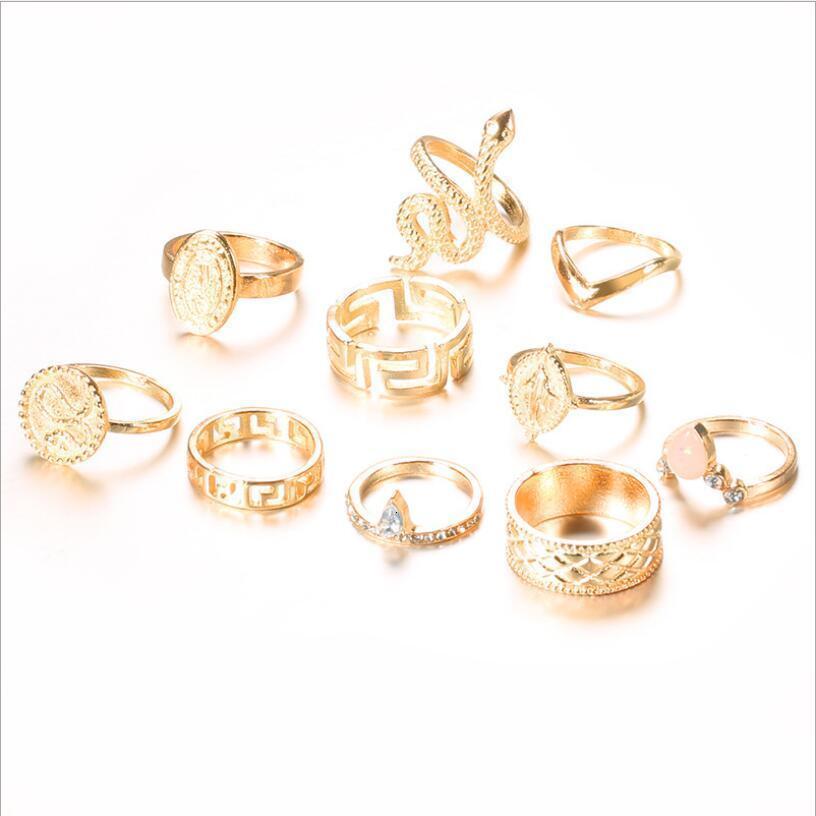 10 개 여성의 결혼 반지 반지 펑크 2,020 동상 자연적인 돌 보헤미안 링