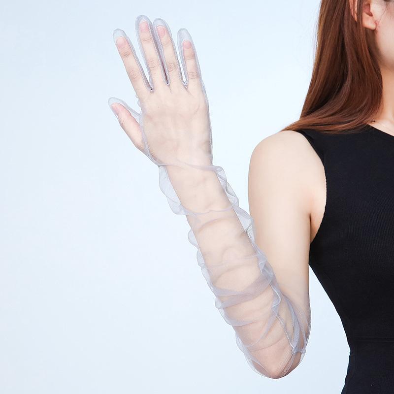 Womens 70cm Guanti Ultra Thin Tulle gomito lungo sposa abito da sposa Guanti solido di colore puro trasparente protezione solare Vintage Mitten
