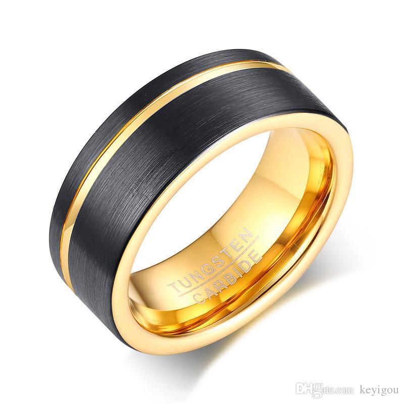 Erkek Yüzükler Siyah Tungsten Karbür Altın Oluk Erkek Yüzük Düğün Nişan Band Trendy Takı
