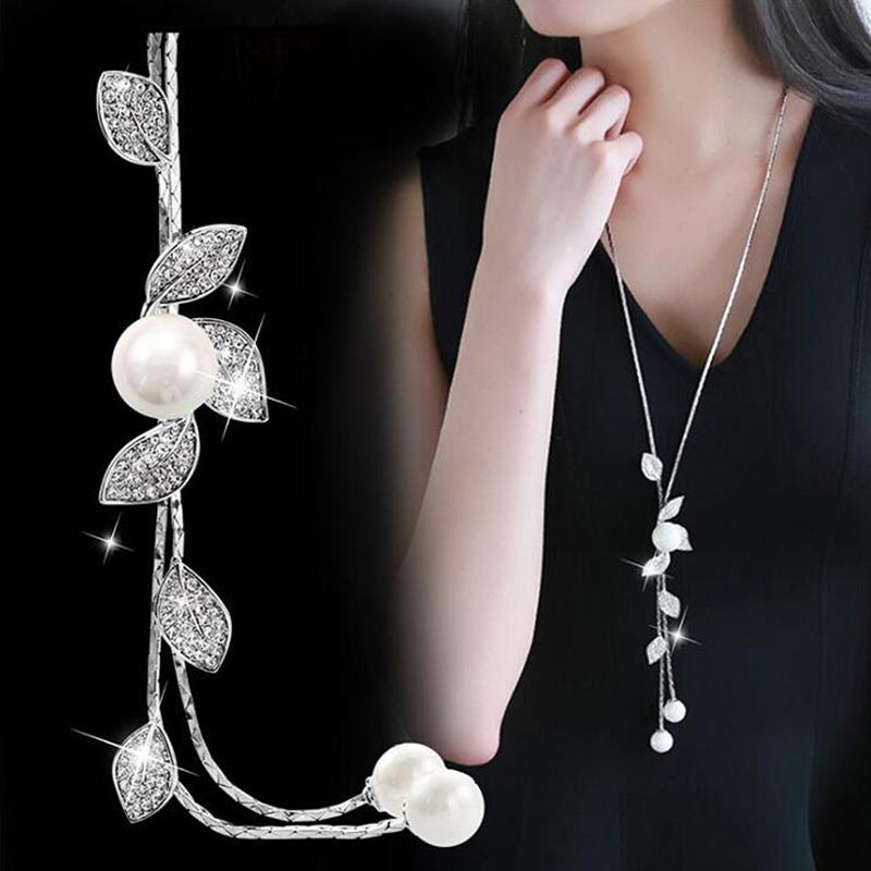 2020 simulato Pearl collane del Choker per Accessori Catena Donne Colore Silver Jewelry lunga del pendente collana d'avanguardia Kolye
