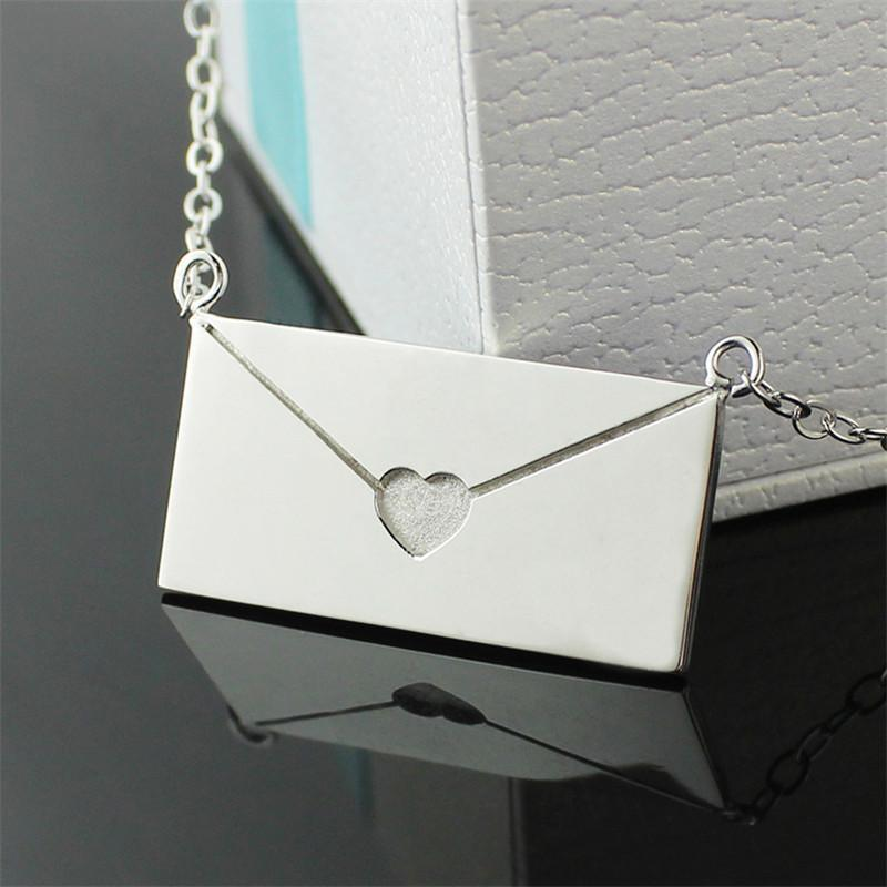Custom Jewelry Envelope S925 Silver Necklace Neckless Lady Necklace Engrave Words Silver Women Men Memorial Best Gift