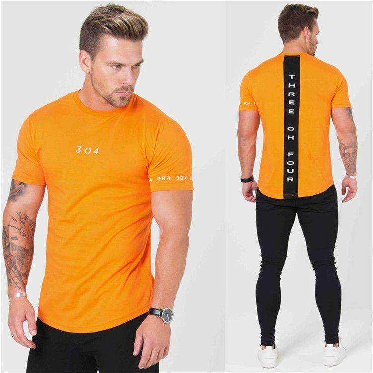 새로운 체육관 의류 피트니스 티 남성 패션 확장 힙합 여름 짧은 소매 티셔츠 보디 빌딩 근육 남자 브랜드
