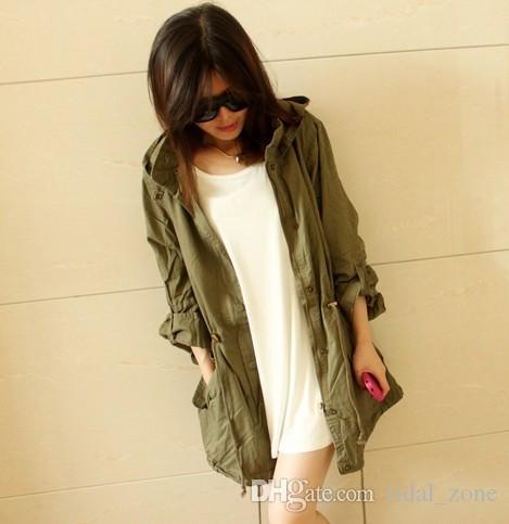 2019 new fashion popular women's European and American fashion street wind pull rope to collect belt cap army green coat jacket