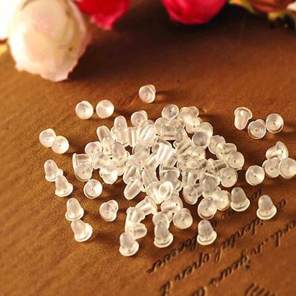 200pcs/lot High Quality Cheap Jewelry Findings Transparent DIY Rubber Earring Stopper Jewelry Accessories Plastic Ear Plugging