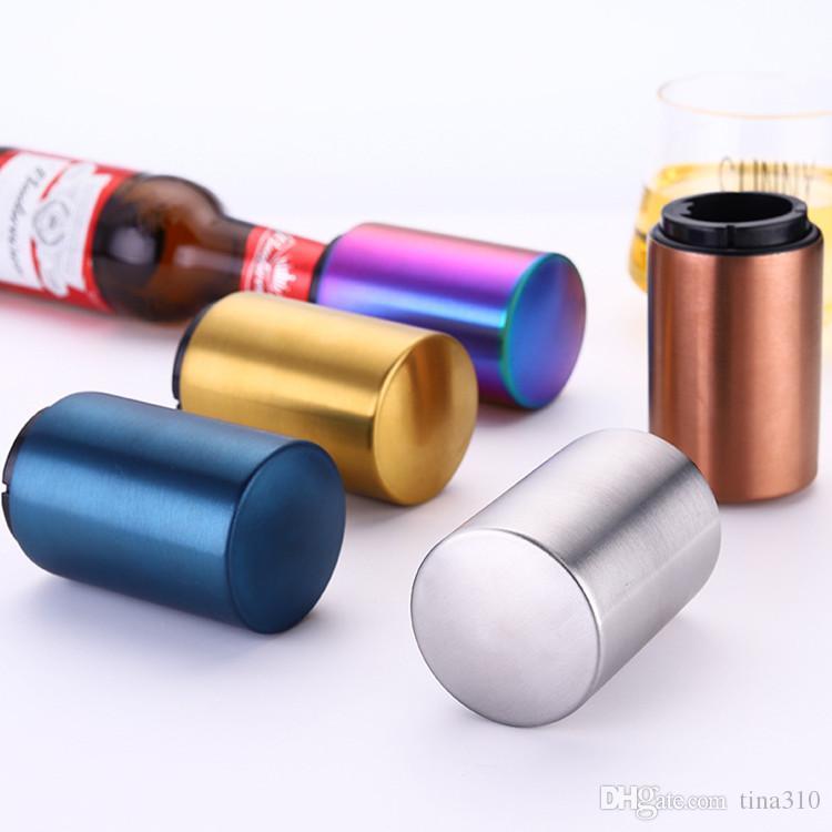 304 Botella de acero inoxidable de la botella de cerveza abridor Abridores tapa utensilio magnetita licor chapado en oro abridor de cocina ToolsT2I5365