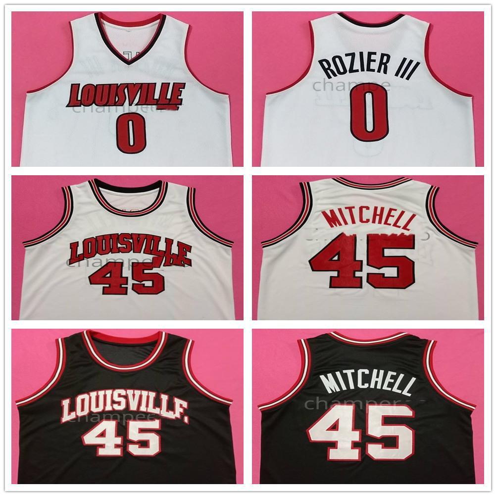 Louisville College Terry III # 0 Rozier Donovan Mitchell # 45 Retro Basketball Jersey Cousu hommes sur mesure Numéro Nom Jerseys