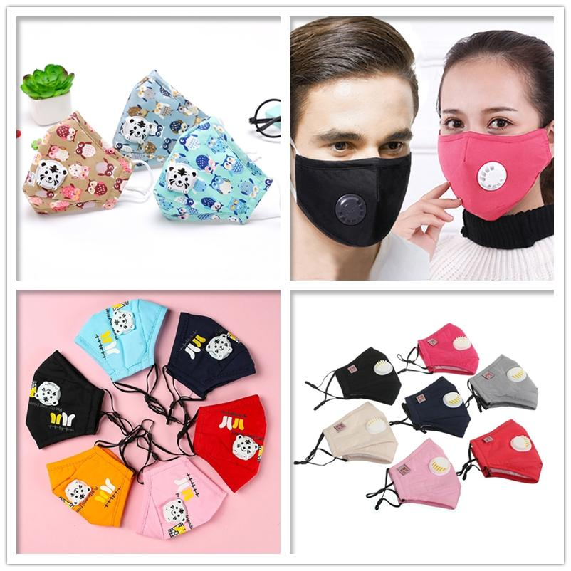 Erwachsene und Kinder Baumwolle Ventil Antipollenstaub Cartoon Atmung rauchen anti Dunst PM2.5 Maske 2 Stück Filtermaske wiederverwendbare Maske