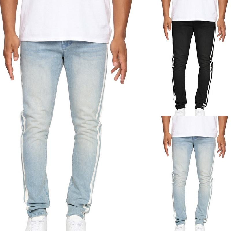 2019 Autumn Casual Striped Jeans Pants Men Streetwear Denim Side Stripe Stretch Pant Solid Waist Elastic Skinny Slim Cotton Jean