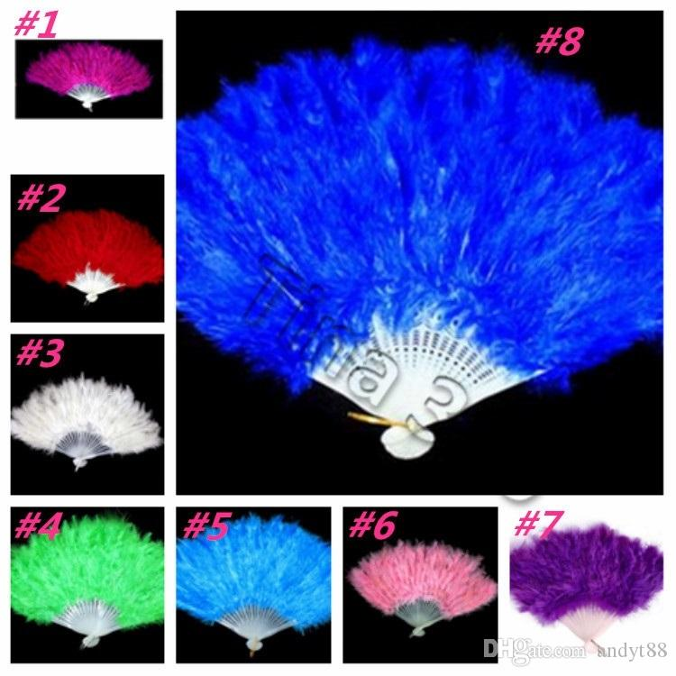 fashion Elegant Feather Fan Halloween decoration Party Stage Performances Folding fan Christmas Halloween Party Supplies hand fanT2I5325